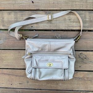 Fossil Champagne Leather Adjustable Crossbody Bag
